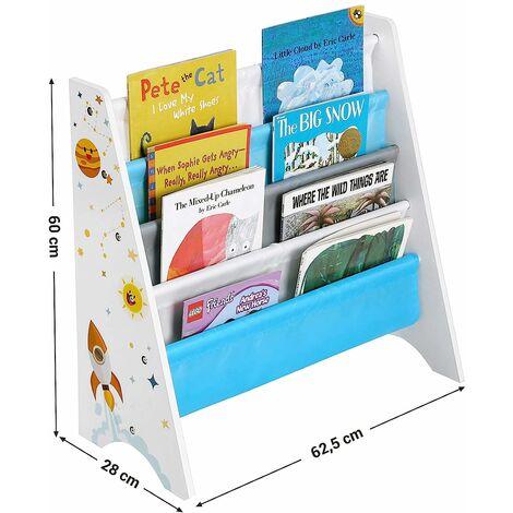 Biblioth/èque Murale Enfant Gain de Place pour Salon Bureau Chambre d/'Enfants Blanc Zerone /Étag/ère Murale de Rangement de Livres /à 4 Couches