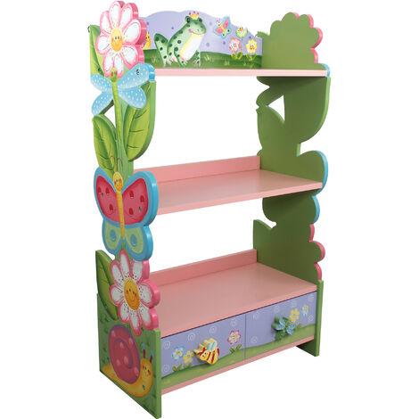 Bibliothèque enfant Magic Garden bois étagère de rangement livres jouets W-7500A