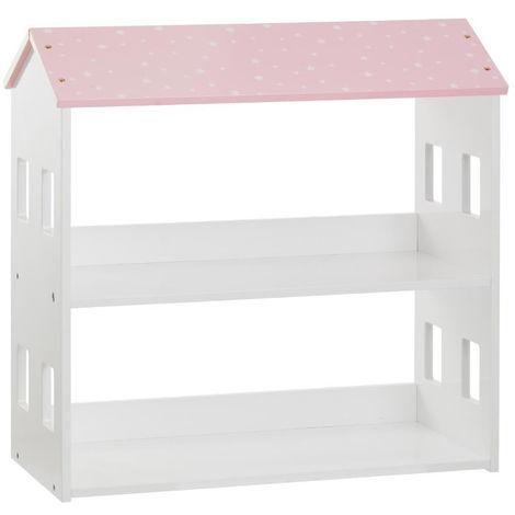 Bibliothèque enfant maison rose - L.59 x l.29,5 x H.58 cm -PEGANE-