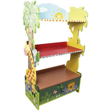 Bibliothèque enfant Sunny Safari en bois pour rangement de livres jouets W-8268A