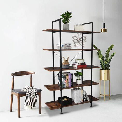 Bibliothèque et étagères industrielles à 5 niveaux, étagères vintage en bois et métal rétro marron