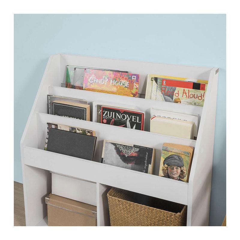Bibliotheque Etagere A Livres Etagere De Rangement Jouets Pour Enfants Porte Revues 3 Compartiments Et 2 Cubes Ouverts Kmb01 W Sobuy