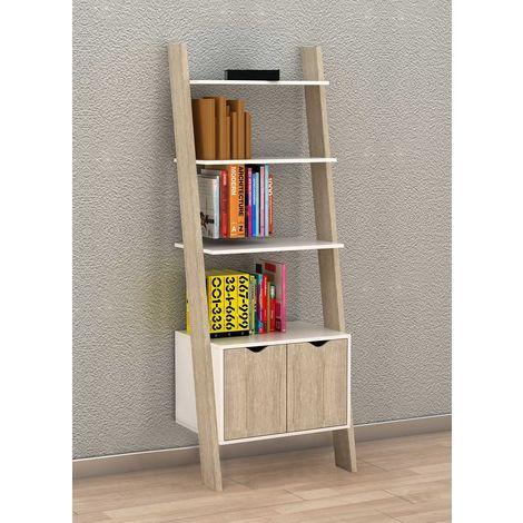 Bibliothèque Étagère de Rangement 4 étagères avec 1 armoire modern – L65xP40xH179cm FRG110-WN SoBuy®
