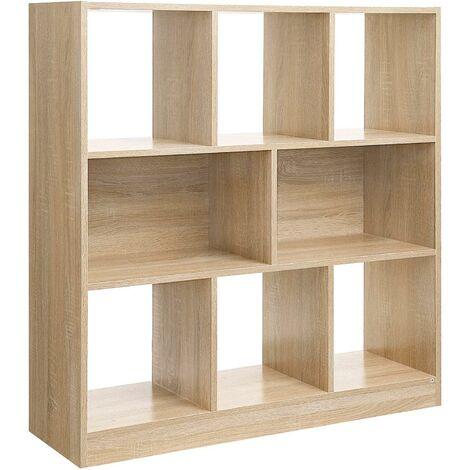 Bibliothèque étagère de rangement 8 casiers bois clair - Bois