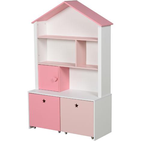 Bibliothèque étagère design maison 4 niches placard grand tiroir double compartiment MDF blanc rose