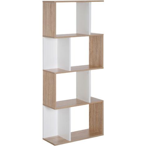 Bibliothèque étagère meuble de rangement design contemporain en S 4 étagères 60L x 24l x 148H cm coloris chêne blanc
