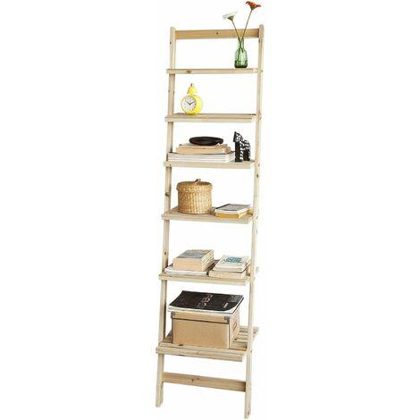 Bibliothèque Étagère murale style échelle avec 6 niveaux de rangement pour salle de bain, salon, etc. FRG161-N SoBuy®