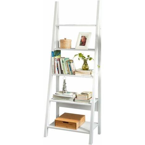 Bibliothèque, Étagère style échelle, Étagère échelle, 5 étages –Blanc FRG61-W SoBuy®