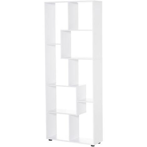Bibliothèque étagère zig zag design contemporain 70L x 24l x 178H cm panneaux particules blanc