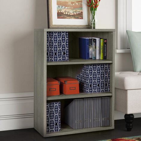 Bibliothèque modulaire 3 casiers en bois design pour bureau et studio MICHELANGELO