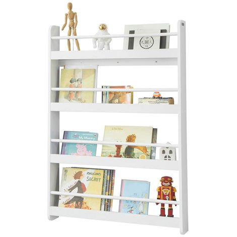 Bibliothèque Murale Étagère de Rangement Étagère à Livres Enfants Étagère Murale avec 4 Étages KMB08-W SoBuy®