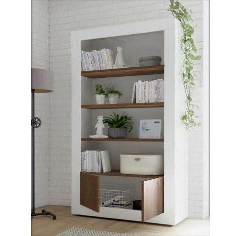 Bibliothéque SAMANTHA 2 portes 3 étageres 110x191 cm noyer - Blanc