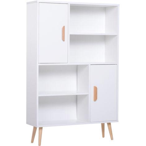 Bibliothèque scandinave 4 niches + 2 placards avec étagère dim. 80L x 24l x 123H cm pieds effilés inclinés bois massif panneaux particules blanc
