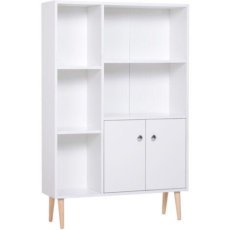 Bibliothèque scandinave dim. 80L x 23,5l x 124H cm 5 niches placard 2 portes pieds effilés inclinés bois massif panneaux particules blanc - Blanc