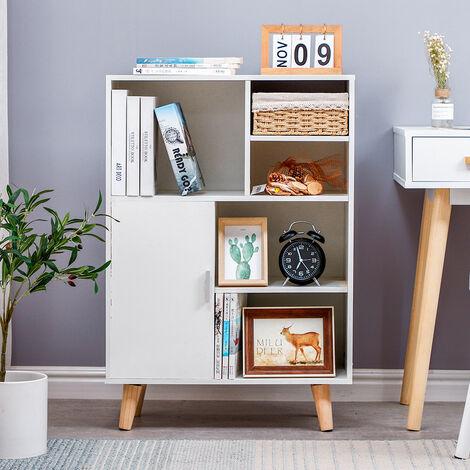 Bibliotheque scandinave pieds en bois Blanc - L 60 cm