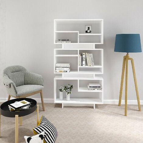 Bibliotheque Violet - avec des etageres - Bureau, Salon - Blanc en Panneau d'agglomere melamine, 90 x 22 x 163,2 cm