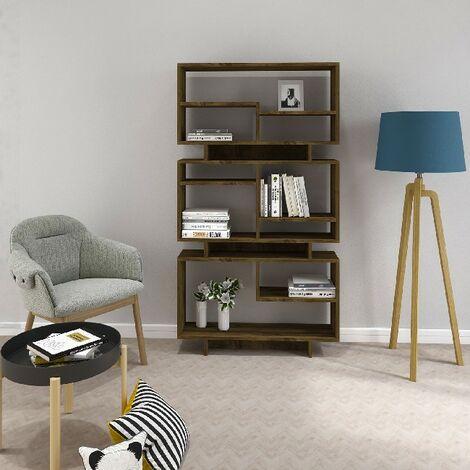 Bibliotheque Violet - avec des etageres - Bureau, Salon - Noix en Panneau d'agglomere melamine, 90 x 22 x 163,2 cm