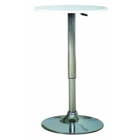 BIBO | Table de bar ronde moderne | Dimensions : 79x60x60 cm | Plateau en MDF | Base solide en métal | Hauteur réglable - Blanc