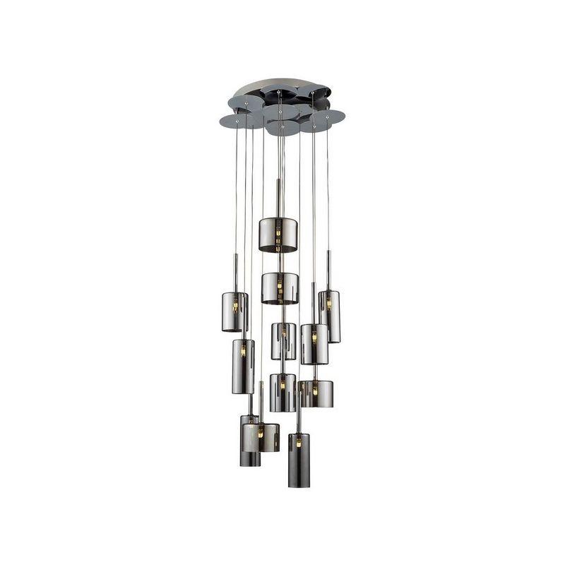 Homemania - Bibu Haengelampe - Kronleuchter - zu Zylinder - von Decke - Chrom, Grau aus Glas, 50 x 50 x 160 cm, 1 x G4 Led , 240W