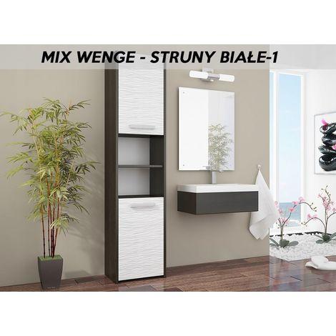 BIBURY 1W - Colonne salle de bain contemporaine 40x30x170 - Rangement salle de bain moderne - Armoire Toilette - Meuble scandinave - Wenge/Blanc