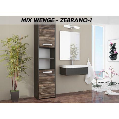 BIBURY 1W - Colonne salle de bain contemporaine 40x30x170 - Rangement salle de bain moderne - Armoire Toilette - Meuble scandinave - Wenge/Zebrano