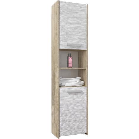 BIBURY S1 - Colonne salle de bain contemporaine 40x30x170 - Rangement salle de bain moderne - Armoire Toilette - Meuble scandinave - Sonoma/Blanc