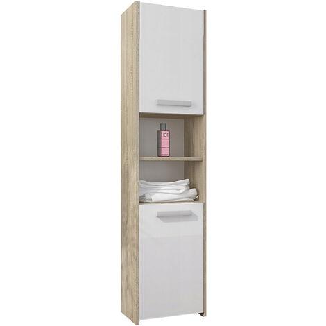 BIBURY S1 - Colonne salle de bain contemporaine 40x30x170 - Rangement salle de bain moderne - Armoire Toilette - Meuble scandinave - Sonoma/Blanc Gloss