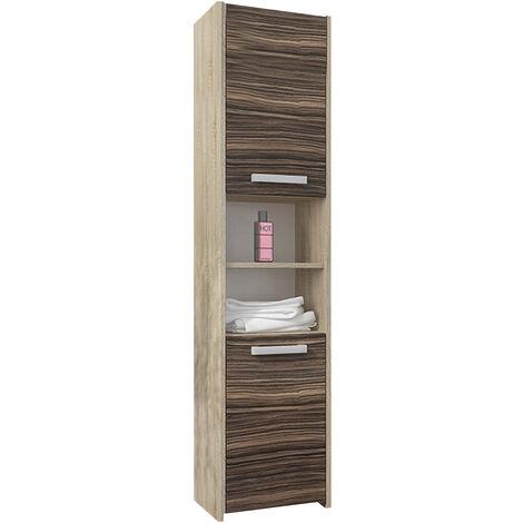 BIBURY S1 - Colonne salle de bain contemporaine 40x30x170 - Rangement salle de bain moderne - Armoire Toilette - Meuble scandinave - Sonoma/Zebrano