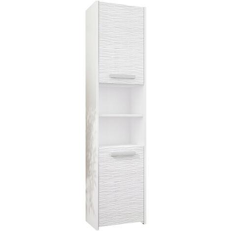 BIBURY W1 - Colonne salle de bain contemporaine 40x30x170 - Rangement salle de bain moderne - Armoire Toilette - Meuble scandinave - Blanc