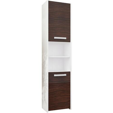 BIBURY W1 - Colonne salle de bain contemporaine 40x30x170 - Rangement salle de bain moderne - Armoire Toilette - Meuble scandinave - Blanc/Eben