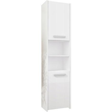BIBURY W1 - Colonne salle de bain contemporaine 40x30x170 - Rangement salle de bain moderne - Armoire Toilette - Meuble scandinave - Blanc Gloss