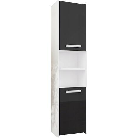 BIBURY W1 - Colonne salle de bain contemporaine 40x30x170 - Rangement salle de bain moderne - Armoire Toilette - Meuble scandinave - Blanc/Noir Gloss