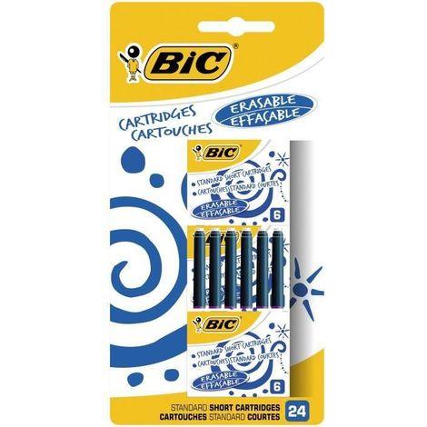 BIC Cartouches d'Encre Courtes Standard pour Stylos-Plume - Bleu Effaçable. Blister de 24 Betadine