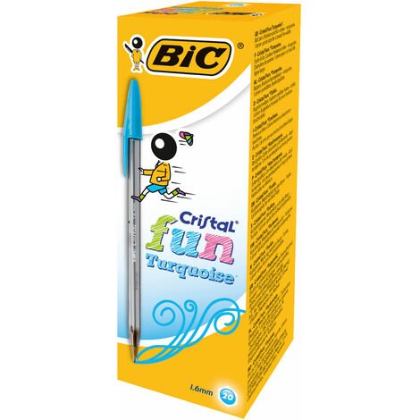 BiC Cristal Fun Ball Pen Turquoise Box of 20