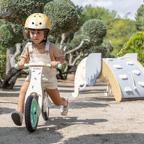 Bicicleta andador madera verde sin pedales correpasillos niños sillin regulable