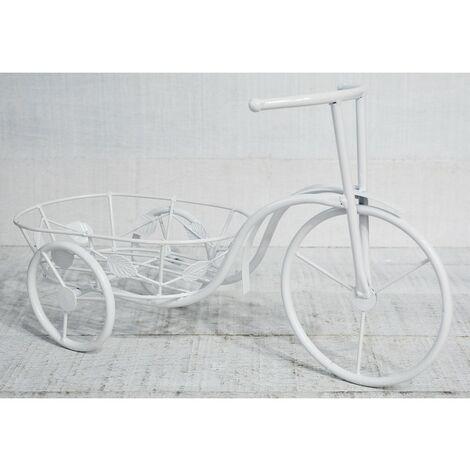 Bicicleta Macetero Blanco, realizado en Metal, decoración Vintage y Elegante, Jardin - Hogar y Mas