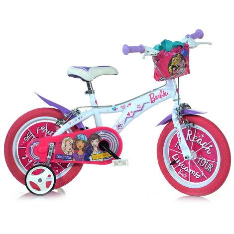 Bicicletta Per Bambina 14 2 Freni Barbie Bianca E Rosa