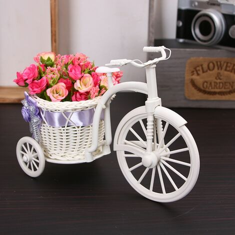 """main image of """"Bicycle Decoration Flower Basket, New Design of Tricycle, Plastic White Vase, Flower Storage, Home, Wedding Party, DIY Decoration Flowerpot"""""""