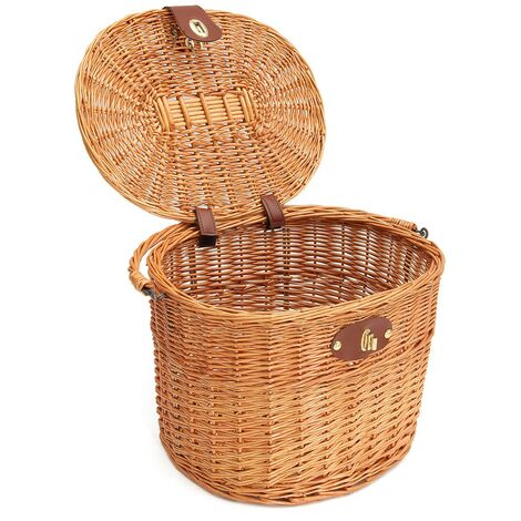 Bicycle Front Basket Willow Rattan Storage wicker Basket 32.5x25x24cm