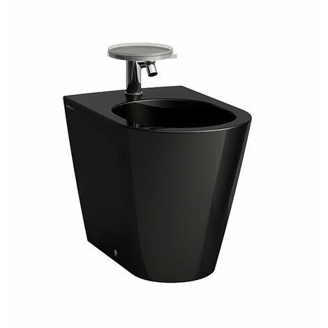 Bidé de pie de cártel en ejecución, 1 agujero para grifo, 370x545x430, color: Negro brillante - H8323310203021