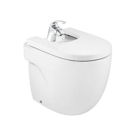 Bidé Meridian compacto con tapa amortiguada, color blanco.