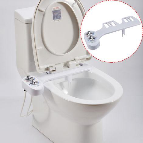 Bidet Nettoyeur de Toilettes Kit Douchette Bidet pour WC Buse Double Eau Froide - Chaude Hygiène Intime Bidet Toilettes Pratique
