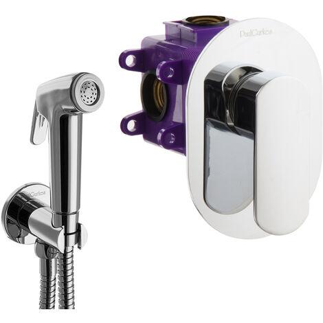 Bidet Set oval Unterputz Armatur Spraybrause Hygiene Dusche