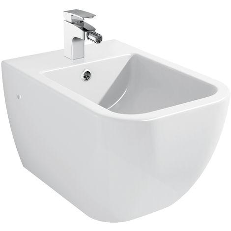 Bidet suspendu en céramique sanitaire blanc BH101