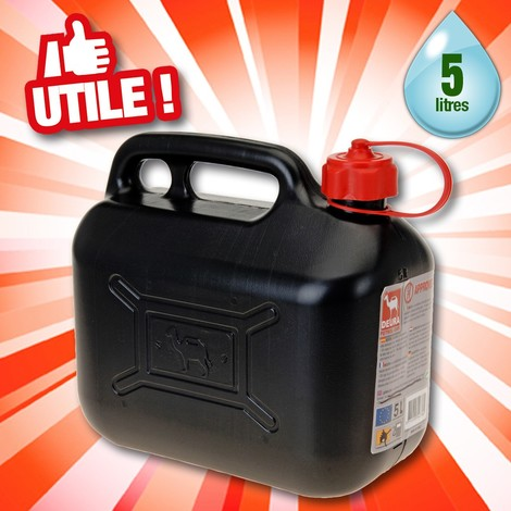 bidon a essence noir 5 litres