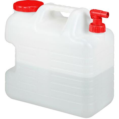 Bidón con grifo, Tapón de rosca, Depósito de agua potable, Para camping, 20L, Sin BPA, 1 Ud., Blanco & Rojo