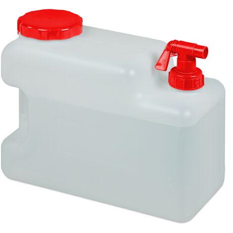 Bidón de agua con grifo, Tapa de rosca ancha, Accesorio de camping, 12L, Sin BPA, Blanco & Rojo, 1 Ud.