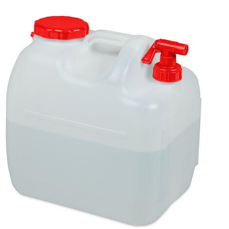 Bidón de agua con grifo, Tapa de rosca ancha, Accesorio de camping, 23L, Sin BPA, Blanco & Rojo, 1 Ud.