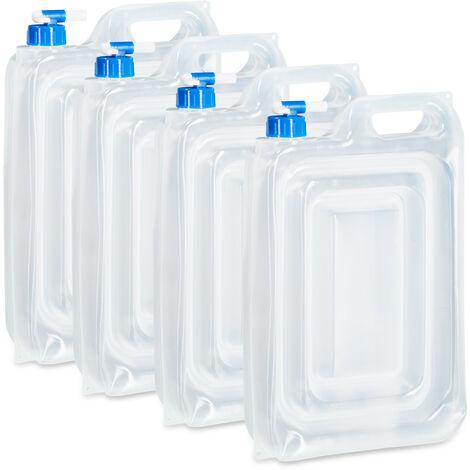Bidón de agua para camping set de 4, 15 l, agarradero, rectangular, con grifo, bidón de agua potable, alimentos seguros