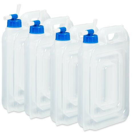Bidón de agua para camping set de 4, 7,5 l, agarradero, rectangular, con grifo, bidón de agua potable, alimentos seguros